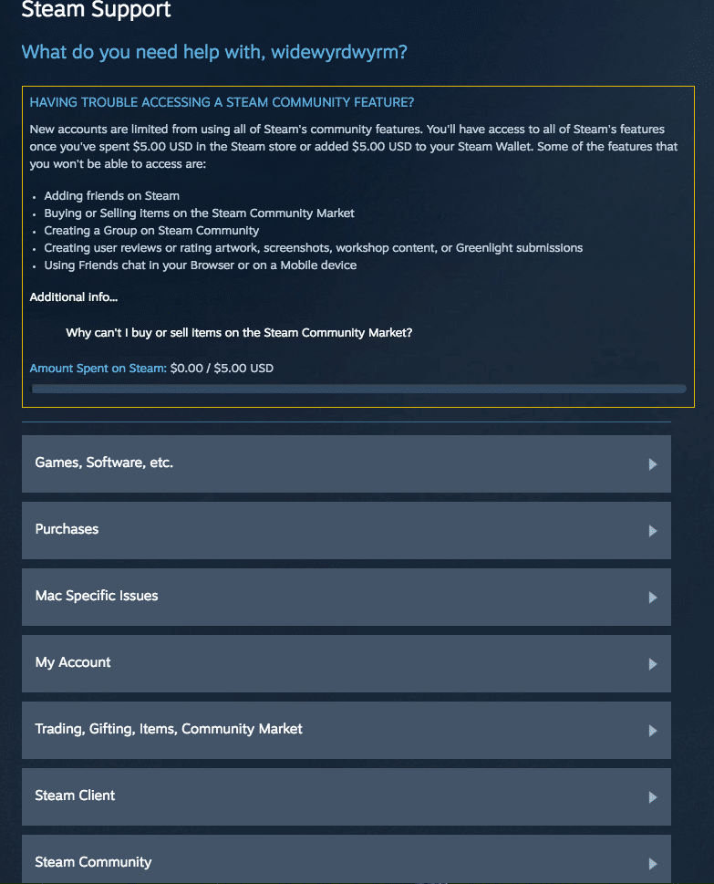 87ac5c4af1 As you can see, Steam already shows what the main problem with my account  is. However, you can dive deeper into Trading, Gifting, Items, Community  Market ...