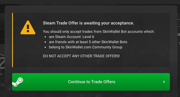skinwallet deposit pop-up