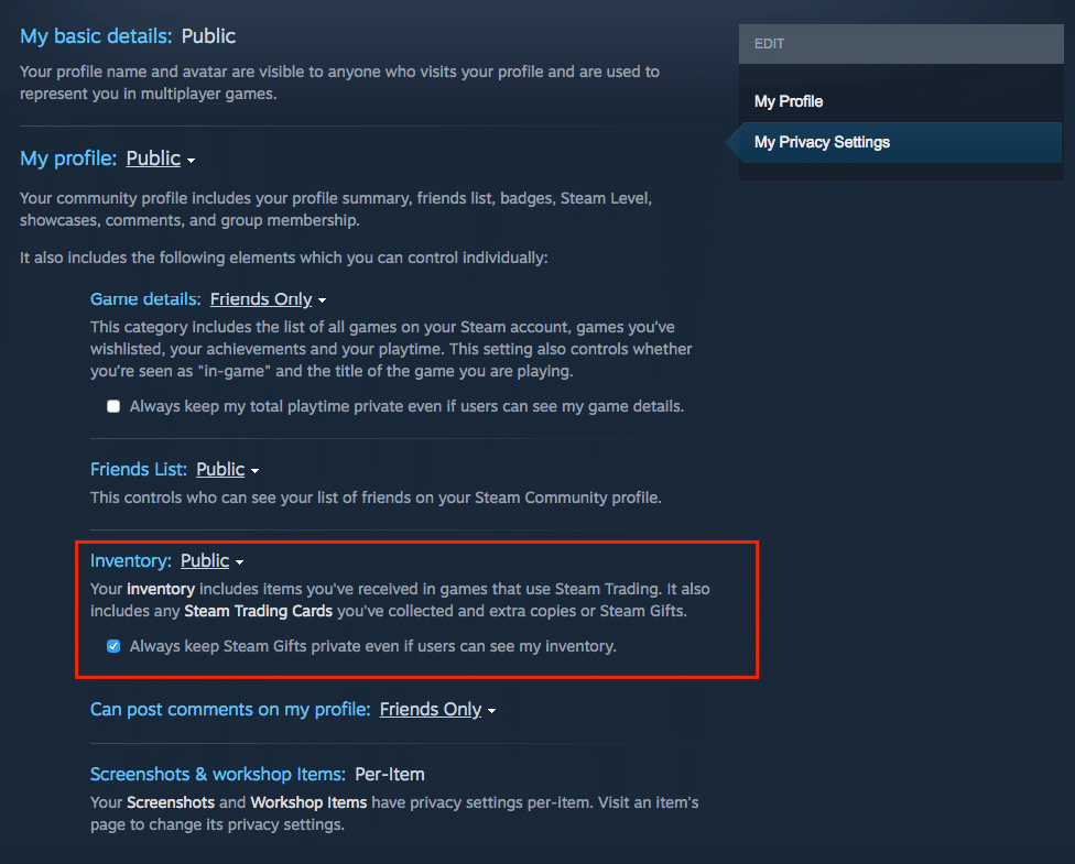 steam privacy settings inventory public