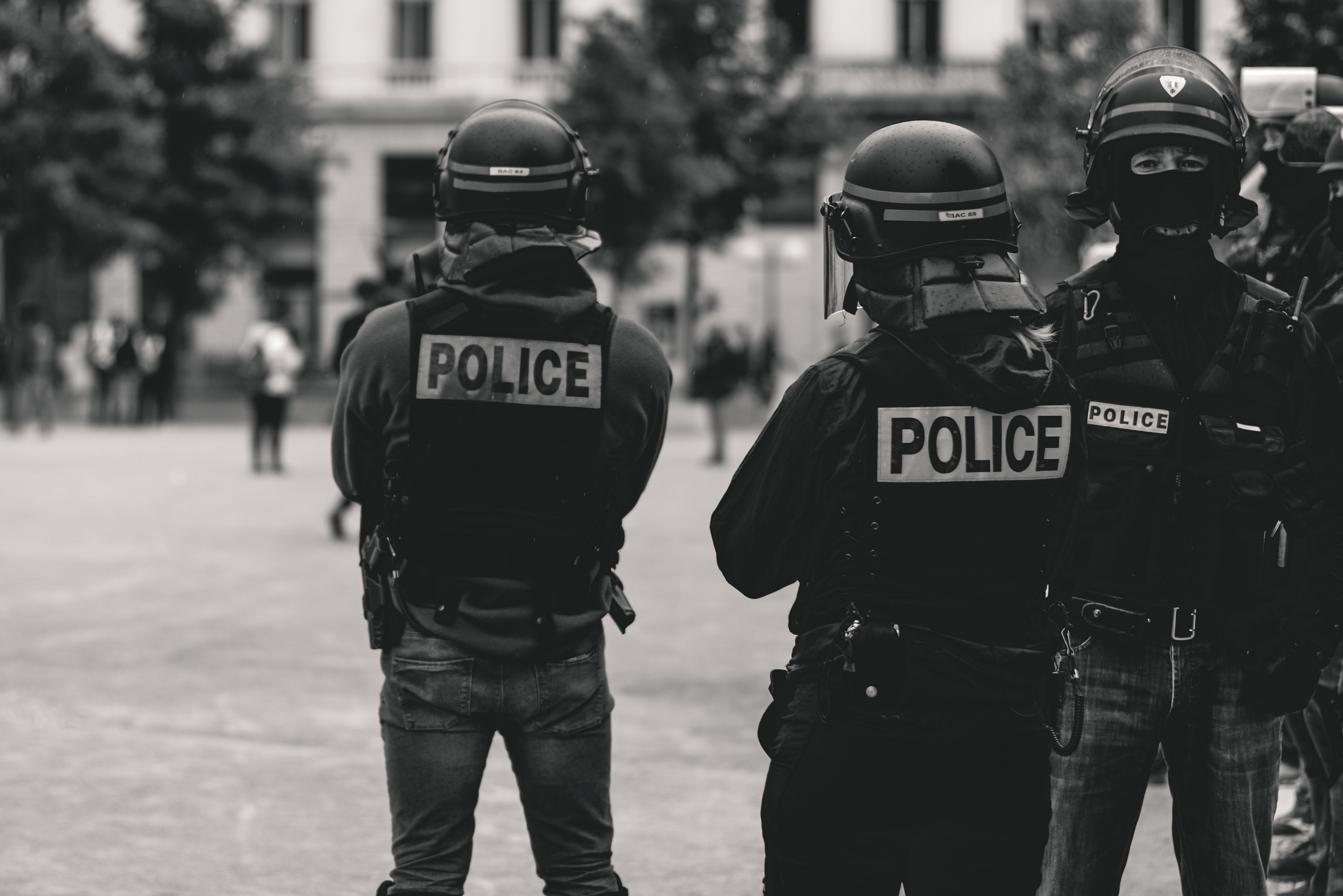 police team standing with equipment