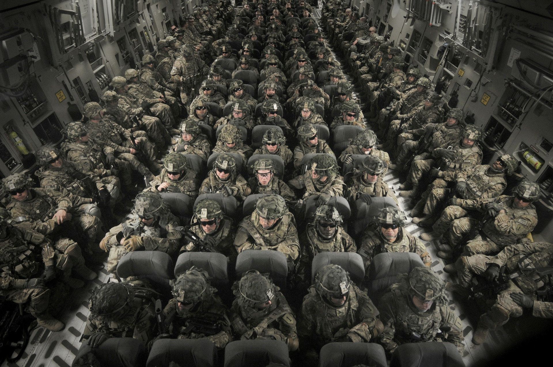 soliders sitting in transport