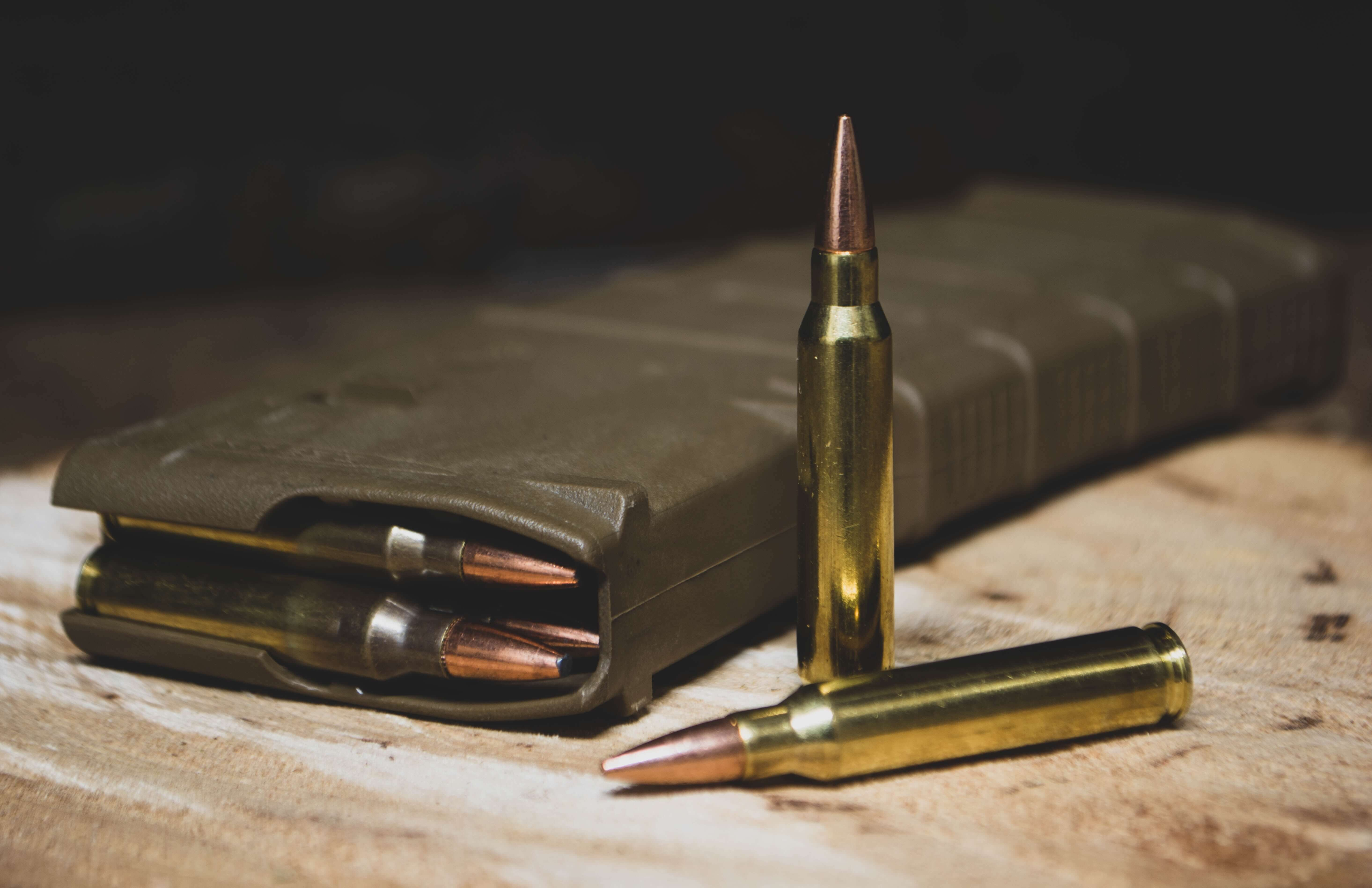 brass bullets and a magazine